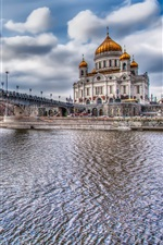 Preview iPhone wallpaper Moscow, Russia, river, bridge, buildings, HDR style