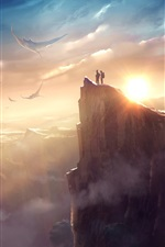 Preview iPhone wallpaper Mountains, fish, rocks, sun, clouds, fantasy world, art picture