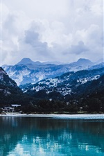 Preview iPhone wallpaper Mountains, lake, trees, water reflection, clouds
