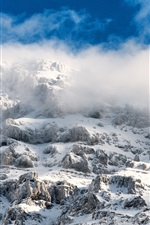 Preview iPhone wallpaper Mountains, snow, fog
