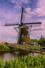 Preview iPhone wallpaper Netherlands, windmill, bridge, river, grass, clouds
