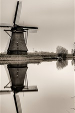 Preview iPhone wallpaper Netherlands, windmill, river, black and white