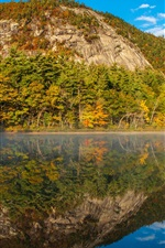 New Hampshire, Echo Lake, water, mountains, trees, USA