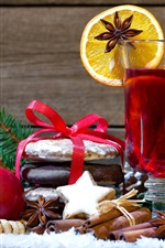 Preview iPhone wallpaper New Year, Christmas, decoration, apple, berries, nuts, drinks, orange