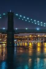 Preview iPhone wallpaper New York City, Manhattan, bridges, city night, illumination