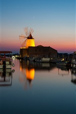 Preview iPhone wallpaper Night, harbour, boat, sea, windmill