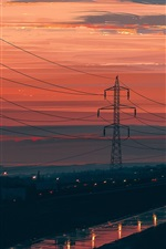 Preview iPhone wallpaper Night, power lines, dusk, red sky