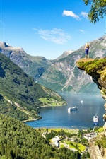 Preview iPhone wallpaper Norway, Geiranger Fjord, mountains, lake, boats, girl