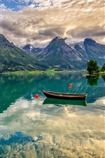 Preview iPhone wallpaper Norway, Oppstrynsvatn Lake, mountains, boats, house, water reflection