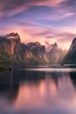 미리보기 iPhone 배경 화면 노르웨이, 산, 호수, 협만, 주택, 구름, 일출, 아침