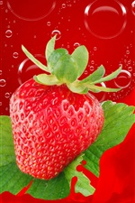 Preview iPhone wallpaper One fresh strawberry, bubbles