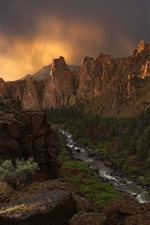 Oregon, USA, canyon, crooked river, rocks, evening