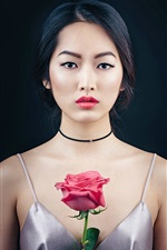 Preview iPhone wallpaper Oriental beautiful girl, portrait, makeup, rose