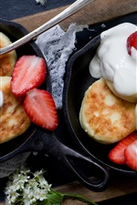 Preview iPhone wallpaper Pancakes, strawberry, cream, flowers, food