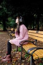 Preview iPhone wallpaper Park, bench, Asian girl listen music