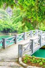 Preview iPhone wallpaper Park, bridge, trees, lake, Vietnam