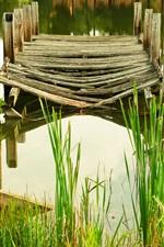 Preview iPhone wallpaper Pier, broken, grass, river