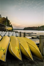 Preview iPhone wallpaper Pier, canoeing, boats, lake, hut