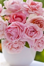 Preview iPhone wallpaper Pink roses, vase, bouquet