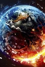Preview iPhone wallpaper Planet destruction, fire, space