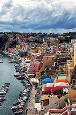 Preview iPhone wallpaper Procida Island, Corricella, Italy, Gulf of Naples, port, boats, city, houses