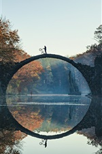 Preview iPhone wallpaper Rakotz, Germany, trees, autumn, river, bridge, water reflection