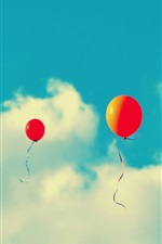 Preview iPhone wallpaper Red balloons flying in sky, clouds