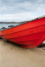 Preview iPhone wallpaper Red boat, beach