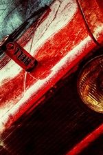 Red car front view, texture