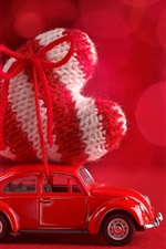 Preview iPhone wallpaper Red car, large love heart, bokeh