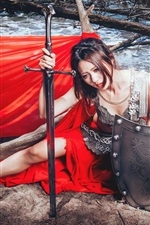 Preview iPhone wallpaper Red dress Asian girl, sword, shield