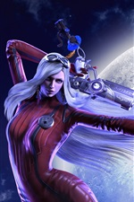 Preview iPhone wallpaper Red dress fantasy girl, white hair, gun, moon