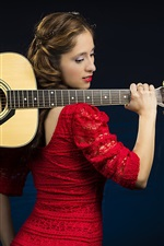 Preview iPhone wallpaper Red dress girl, guitar