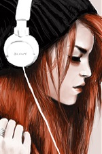 Preview iPhone wallpaper Red hair girl, headphones, listen music, art drawing