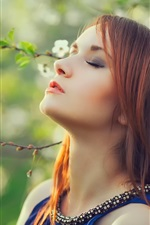 Preview iPhone wallpaper Red hair girl, white flowers, tree, spring