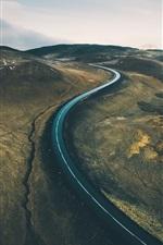 Preview iPhone wallpaper Road, hills, rift, dusk