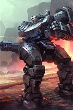 Preview iPhone wallpaper Robot, war, lava, art picture