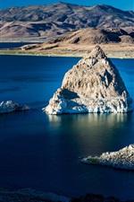 Preview iPhone wallpaper Rocks, lake, water, mountains, island