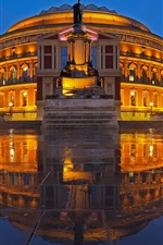 Preview iPhone wallpaper Royal Albert Hall, night, buildings, wet ground, lights, England, London