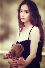 Preview iPhone wallpaper Sadness Asian girl, teddy bear