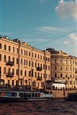 Preview iPhone wallpaper Saint Petersburg, river, boats, buildings, Russian