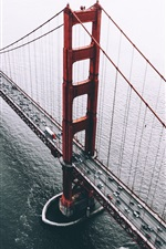 Preview iPhone wallpaper San Francisco, USA, bridge, cars, sea, top view