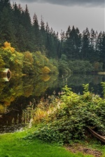 Scotland, Loch Lomond, Trossachs National Park, lake, boats, trees