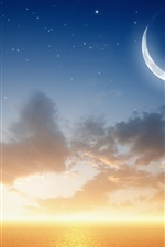 Preview iPhone wallpaper Sea, planet, moon, sunset
