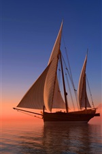 Preview iPhone wallpaper Sea, sailboat, sunset