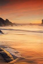 Sea, waves, coast, ocean, rocks, dusk