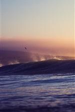 Mar, ondas, pôr do sol, pássaros
