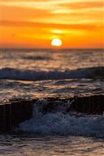 Preview iPhone wallpaper Sea, waves, water splash, sunset
