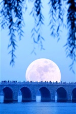 Preview iPhone wallpaper Seventeen-Arch bridge, lake, moon, Summer Palace, Beijing, China