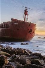Preview iPhone wallpaper Ship, sea, stones